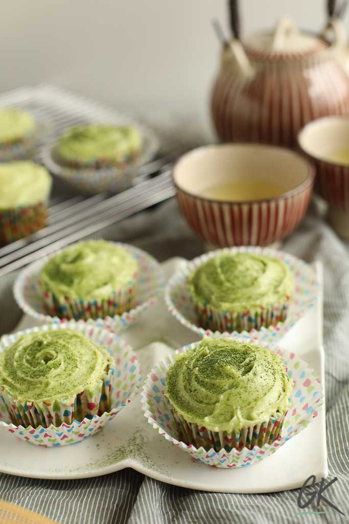 Green Velvet Match Cupcakes with tea