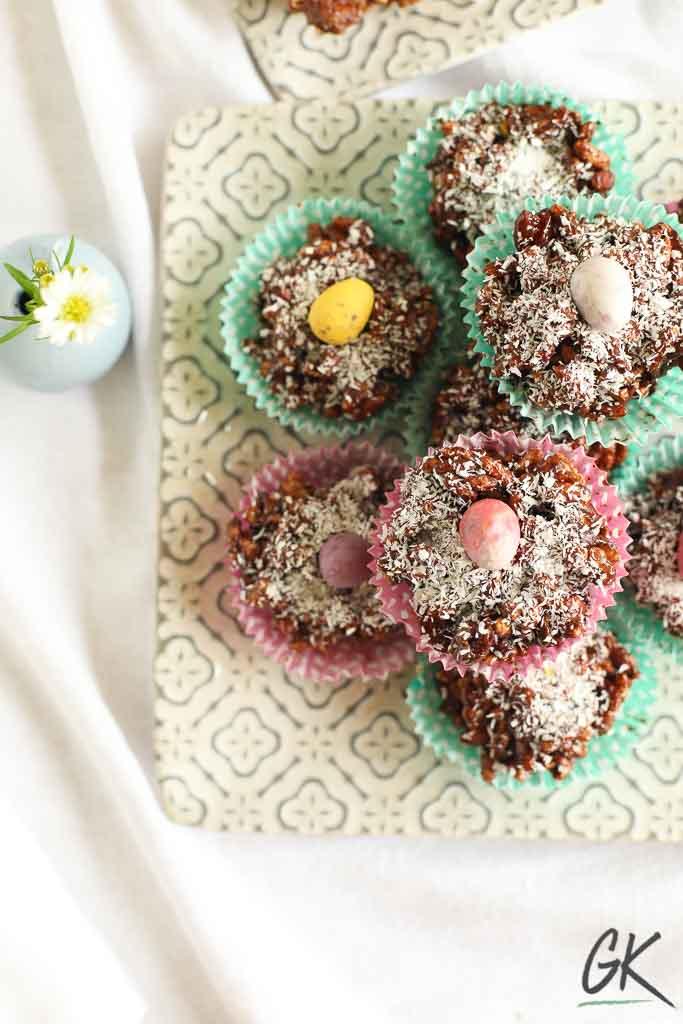 Healthier Chocolate Rice Crispy Fridge Cakes on plate