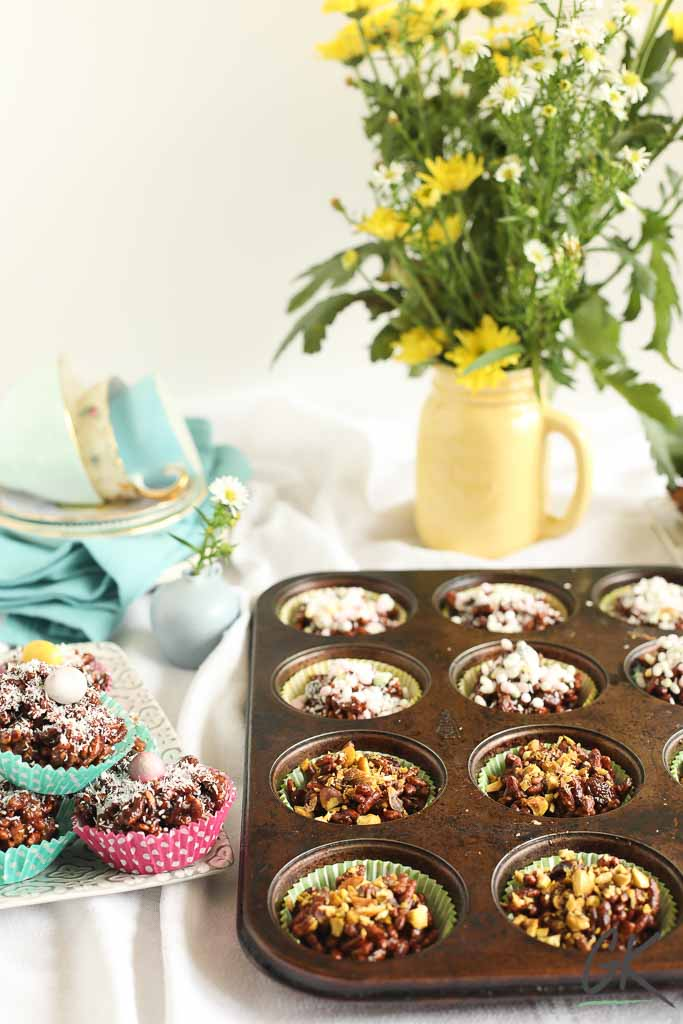 Healthier Chocolate Rice Crispy Fridge Cakes on plate in tin on table