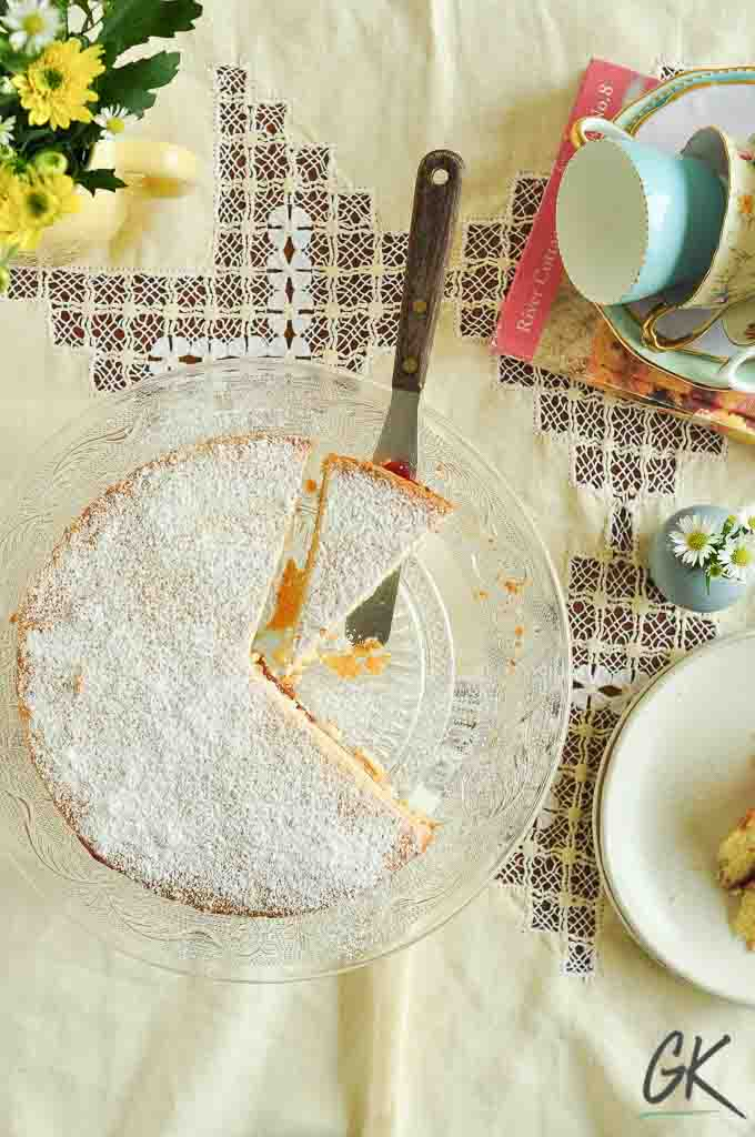 Classic Victoria Sponge Cake from above with flowers