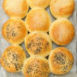 bread rolls on tray from above