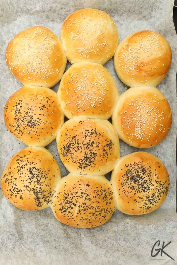 Golden Seeded Bread Rolls on tray from above