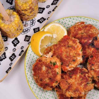 maryland style crab cakes cooked with corn lollypops
