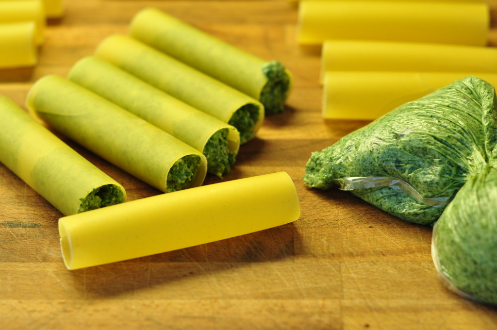 Spinach and Ricotta Cannelloni: filling the pasta tubes