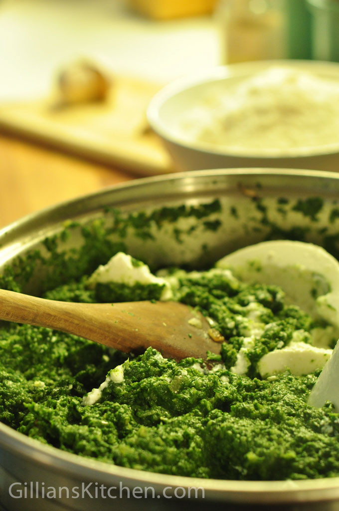 spinach and ricotta cannelloni mixing in ricotta with the spinach
