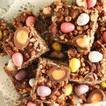 chocolate rice crispy fridge cake from above close up