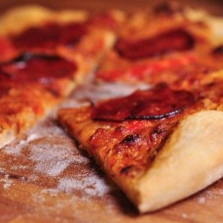 pizza dough - cooked pizza
