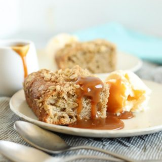 Apple Crumble Breakfast Muffin Tray Bake slice with sauce 3
