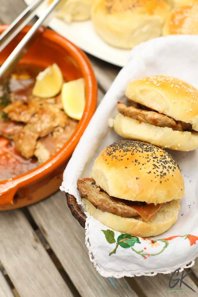 Golden Seeded Bread Rolls filled with saltimbocca