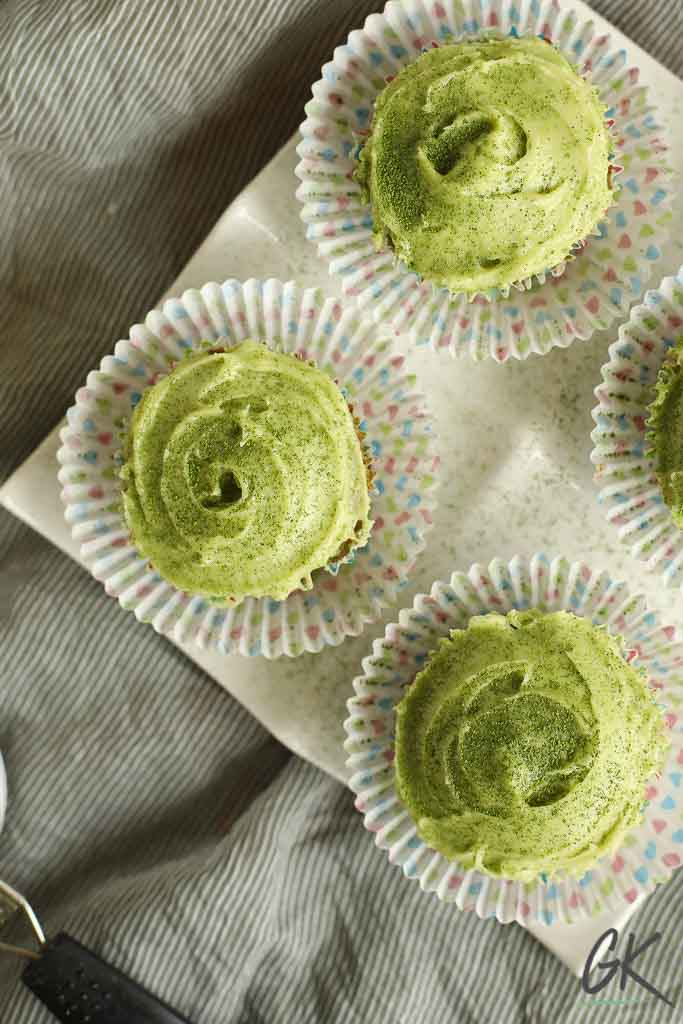 Green velvet match cupcakes on plate
