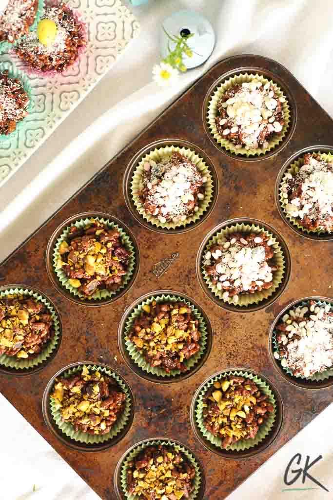 Healthier Chocolate Rice Crispy Fridge Cakes on plate in tin